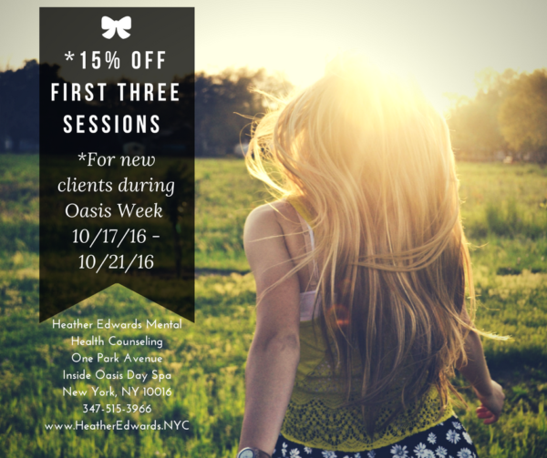 15% off first 3 sessions for new clients