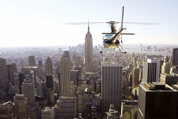 wings air helicopter giveaway. picture of helicopter flying over NYC