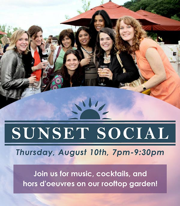 sunset social. august 10th from 7PM to 9:30PM