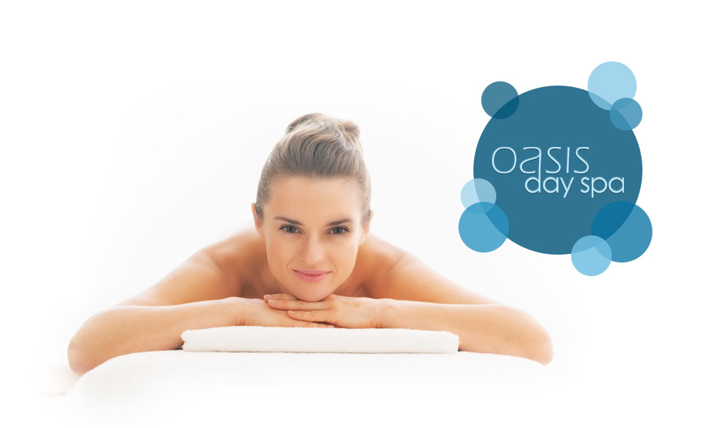 oasis day spa image with a smiling woman
