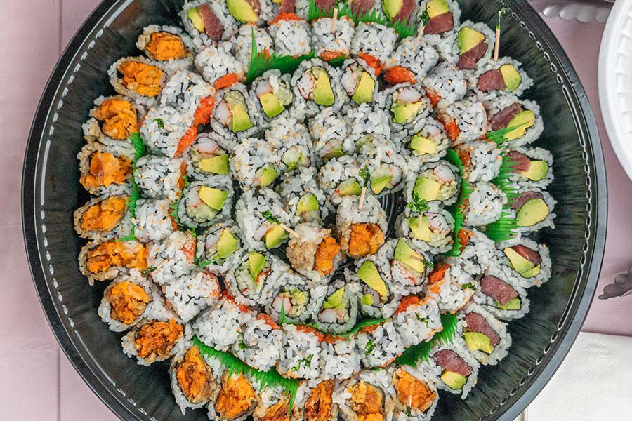 sunset social photo of sushi platter from Buddha Asian Bistro