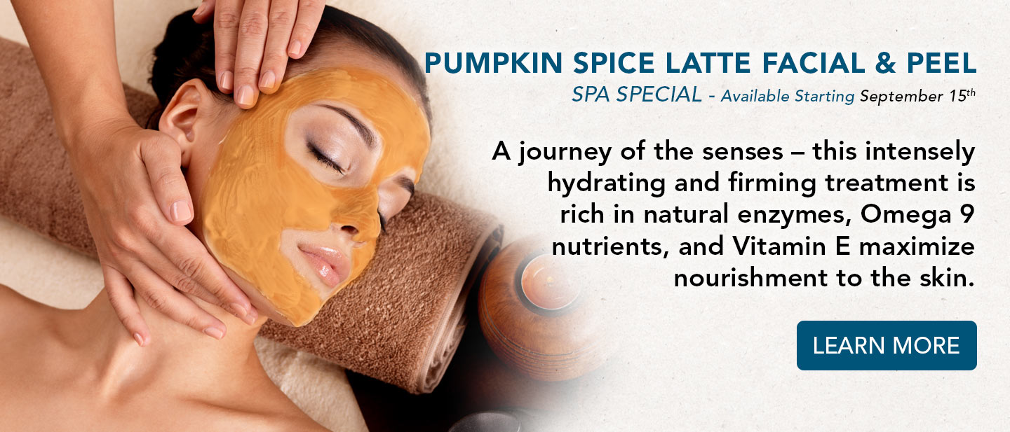 pumpkin spice latte facial and peel spa special.