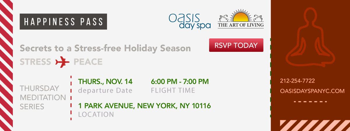 Thursday Meditation Series. Secrets to a Stree-Free Holiday Season. November 14. RSVP Now